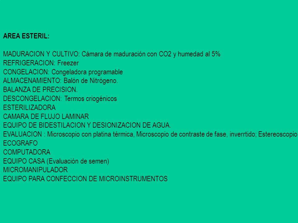 AREA ESTERIL: MADURACION Y CULTIVO: Cámara de maduración con CO2 y humedad al 5% REFRIGERACION: Freezer CONGELACION: Congeladora programable ALMACENAM