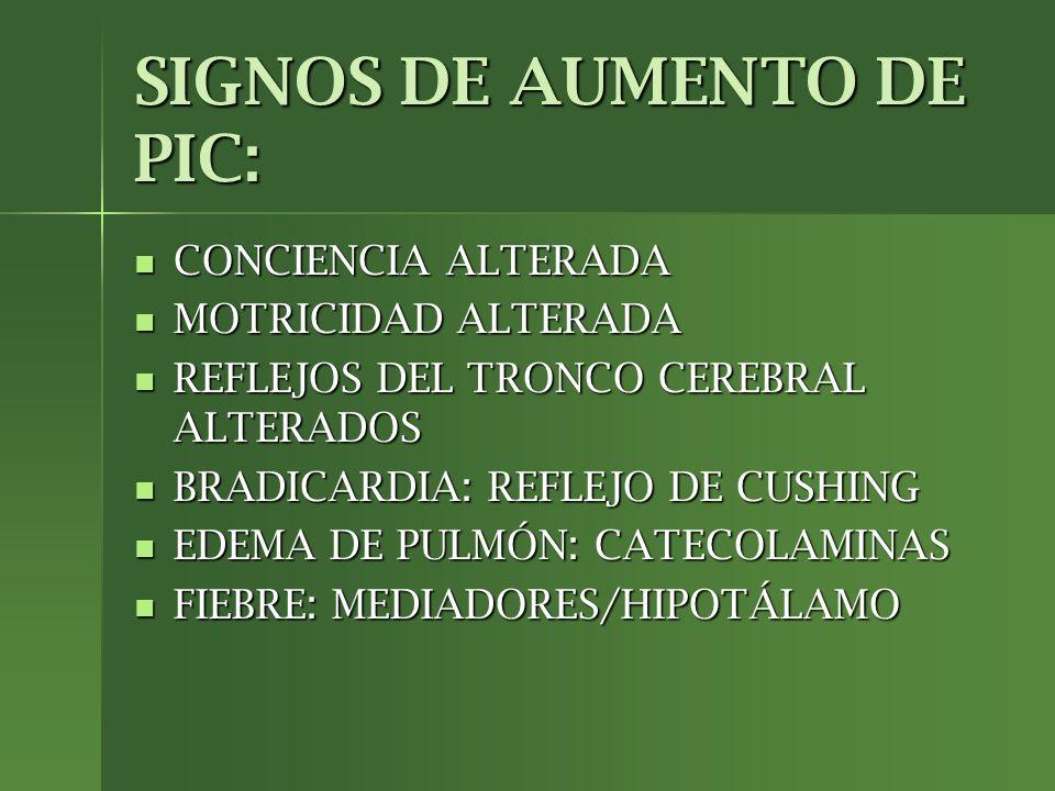 SIGNOS DE AUMENTO DE PIC: CONCIENCIA ALTERADA MOTRICIDAD ALTERADA REFLEJOS DEL TRONCO CEREBRAL ALTERADOS BRADICARDIA: REFLEJO DE CUSHING EDEMA DE PULM