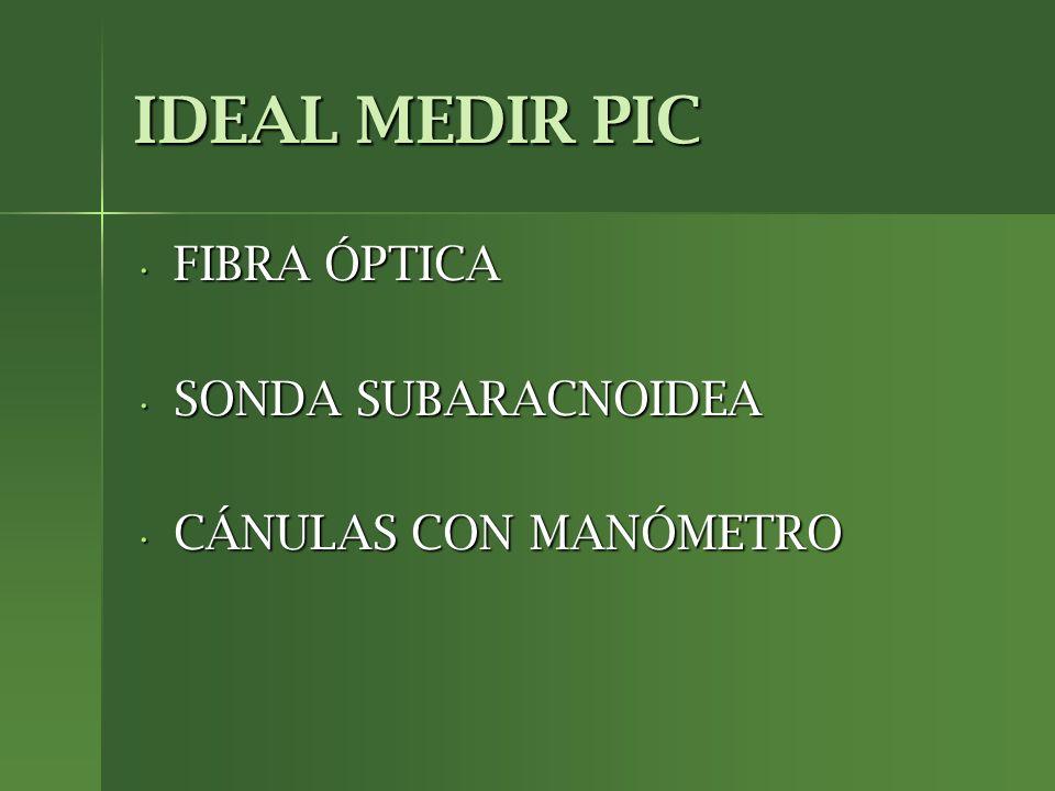 IDEAL MEDIR PIC FIBRA ÓPTICA FIBRA ÓPTICA SONDA SUBARACNOIDEA SONDA SUBARACNOIDEA CÁNULAS CON MANÓMETRO CÁNULAS CON MANÓMETRO