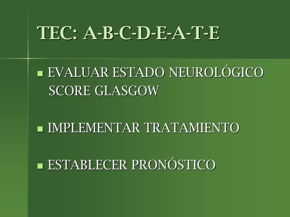 TEC: A-B-C-D-E-A-T-E EVALUAR ESTADO NEUROLÓGICO EVALUAR ESTADO NEUROLÓGICO SCORE GLASGOW SCORE GLASGOW IMPLEMENTAR TRATAMIENTO IMPLEMENTAR TRATAMIENTO