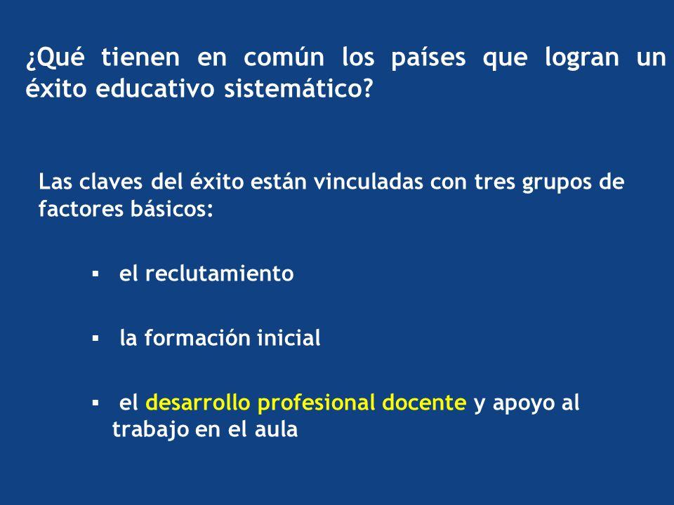 Las claves del éxito están vinculadas con tres grupos de factores básicos: el reclutamiento la formación inicial el desarrollo profesional docente y apoyo al trabajo en el aula ¿Qué tienen en común los países que logran un éxito educativo sistemático?