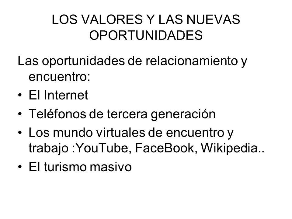 LOS VALORES Y LAS NUEVAS OPORTUNIDADES Las oportunidades de relacionamiento y encuentro: El Internet Teléfonos de tercera generación Los mundo virtual