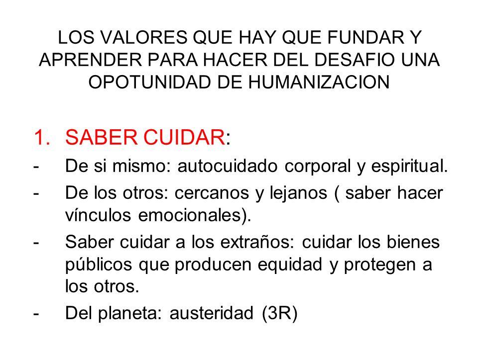 LOS VALORES QUE HAY QUE FUNDAR Y APRENDER PARA HACER DEL DESAFIO UNA OPORTUNIDAD DE HUMANIZACION 2.