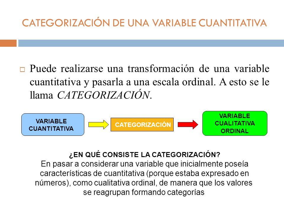 CATEGORIZACIÓN DE UNA VARIABLE CUANTITATIVA Puede realizarse una transformación de una variable cuantitativa y pasarla a una escala ordinal. A esto se