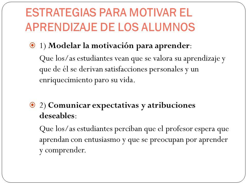 ESTRATEGIAS PARA MOTIVAR EL APRENDIZAJE DE LOS ALUMNOS 1) Modelar la motivación para aprender: Que los/as estudiantes vean que se valora su aprendizaj