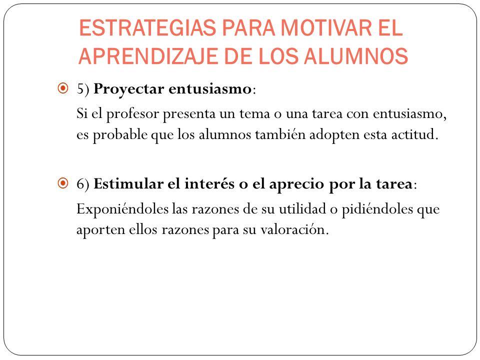 ESTRATEGIAS PARA MOTIVAR EL APRENDIZAJE DE LOS ALUMNOS 5) Proyectar entusiasmo: Si el profesor presenta un tema o una tarea con entusiasmo, es probabl
