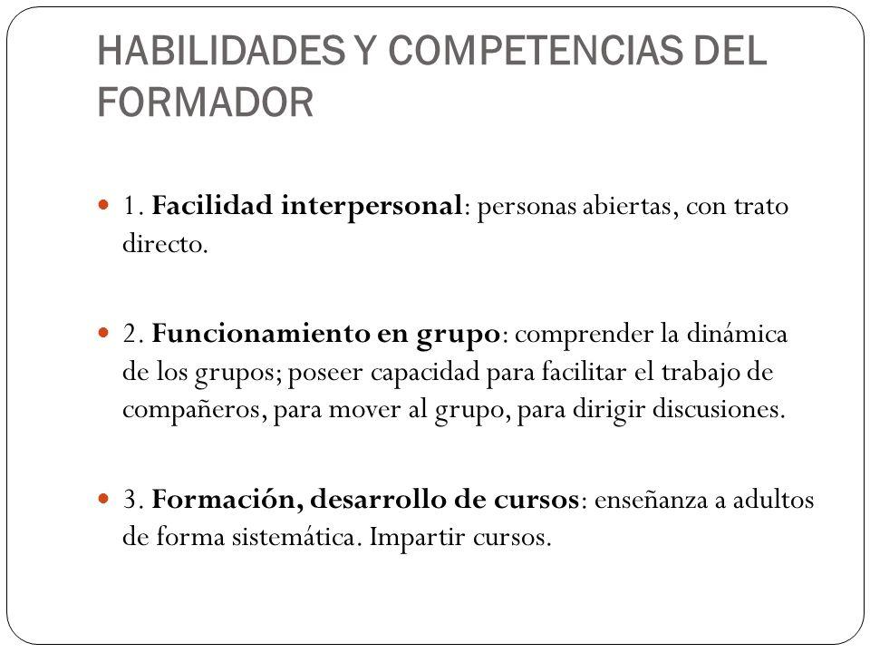 1. Facilidad interpersonal: personas abiertas, con trato directo. 2. Funcionamiento en grupo: comprender la dinámica de los grupos; poseer capacidad p