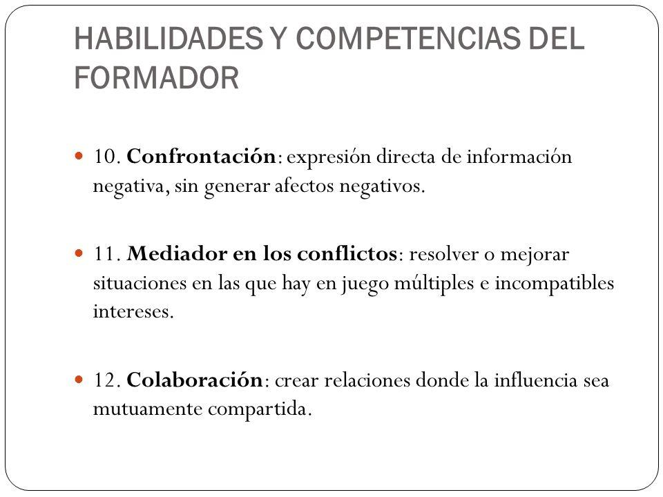 HABILIDADES Y COMPETENCIAS DEL FORMADOR 10. Confrontación: expresión directa de información negativa, sin generar afectos negativos. 11. Mediador en l