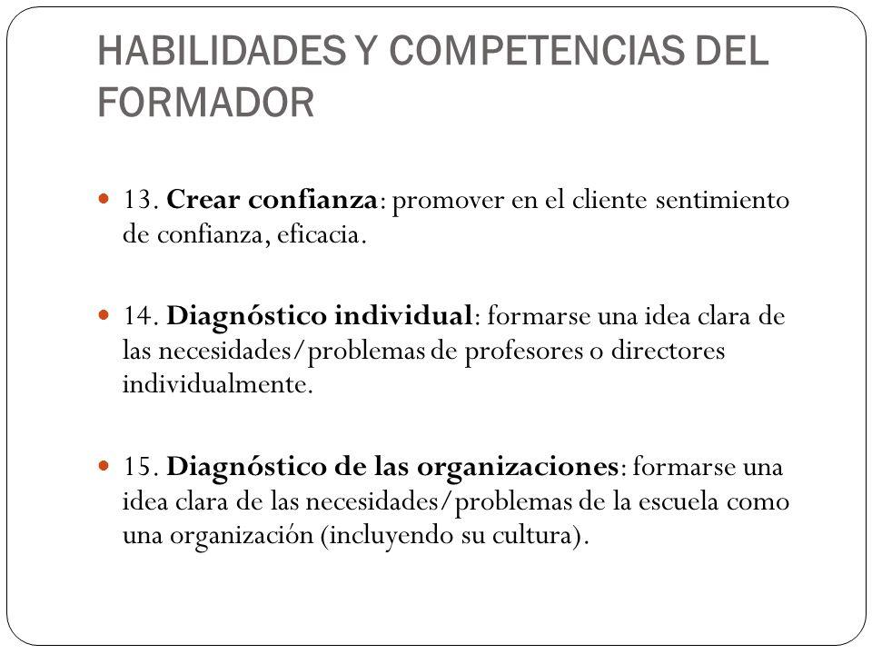 HABILIDADES Y COMPETENCIAS DEL FORMADOR 13. Crear confianza: promover en el cliente sentimiento de confianza, eficacia. 14. Diagnóstico individual: fo