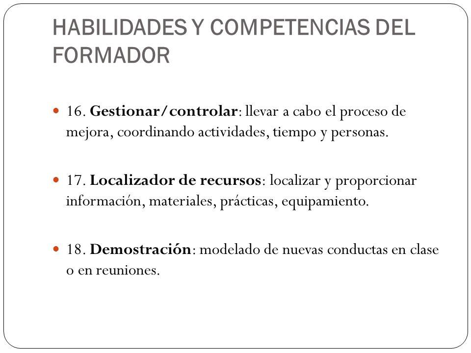 HABILIDADES Y COMPETENCIAS DEL FORMADOR 16. Gestionar/controlar: llevar a cabo el proceso de mejora, coordinando actividades, tiempo y personas. 17. L