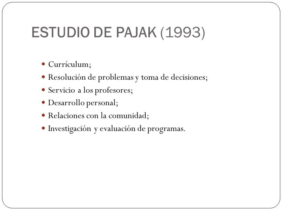 ESTUDIO DE PAJAK (1993) Currículum; Resolución de problemas y toma de decisiones; Servicio a los profesores; Desarrollo personal; Relaciones con la co
