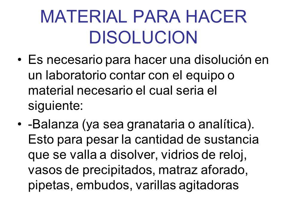 MATERIAL PARA HACER DISOLUCION Es necesario para hacer una disolución en un laboratorio contar con el equipo o material necesario el cual seria el sig
