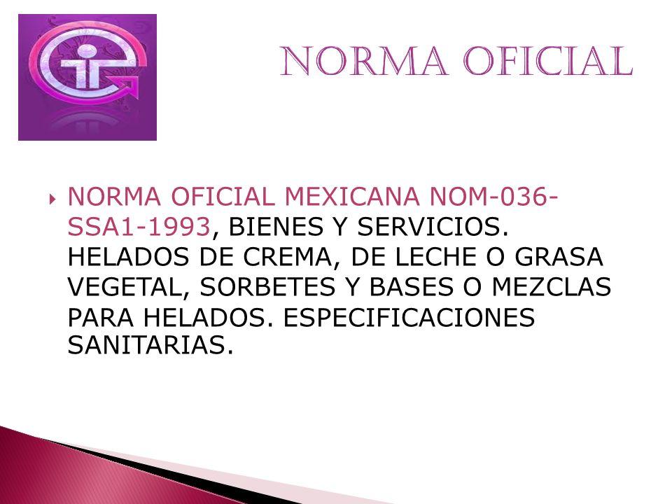 NORMA OFICIAL MEXICANA NOM-036- SSA1-1993, BIENES Y SERVICIOS. HELADOS DE CREMA, DE LECHE O GRASA VEGETAL, SORBETES Y BASES O MEZCLAS PARA HELADOS. ES