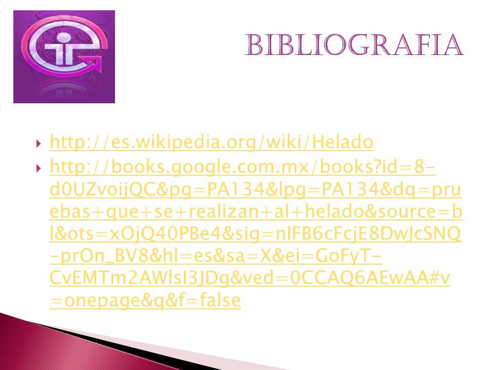 http://es.wikipedia.org/wiki/Helado http://books.google.com.mx/books?id=8- d0UZvoijQC&pg=PA134&lpg=PA134&dq=pru ebas+que+se+realizan+al+helado&source=