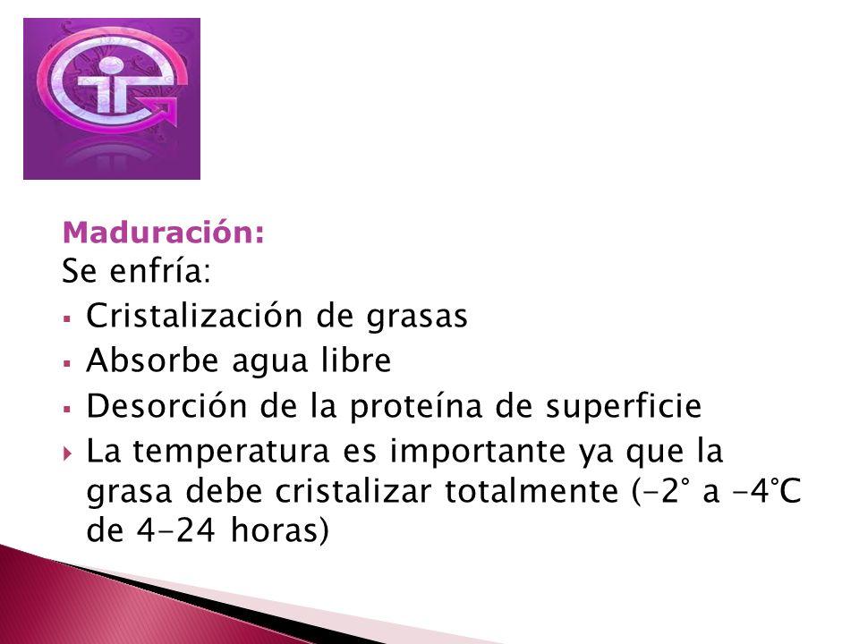 Maduración: Se enfría: Cristalización de grasas Absorbe agua libre Desorción de la proteína de superficie La temperatura es importante ya que la grasa