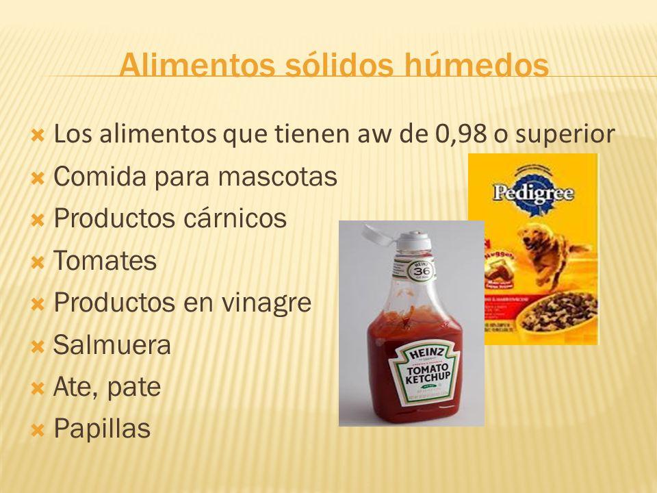 Alimentos sólidos húmedos Los alimentos que tienen aw de 0,98 o superior Comida para mascotas Productos cárnicos Tomates Productos en vinagre Salmuera