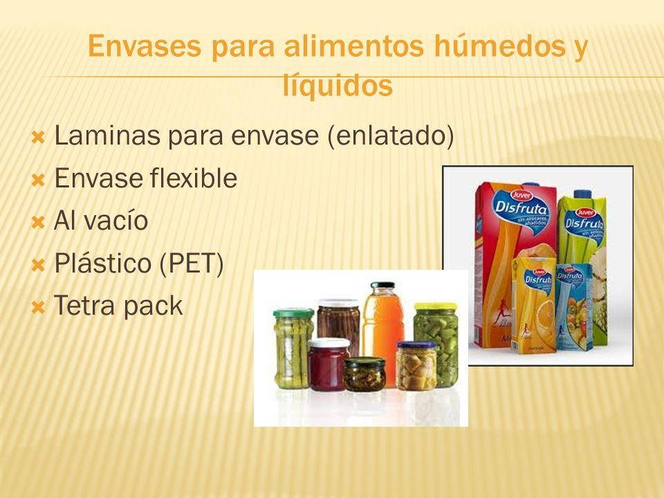 Envases para alimentos húmedos y líquidos Laminas para envase (enlatado) Envase flexible Al vacío Plástico (PET) Tetra pack