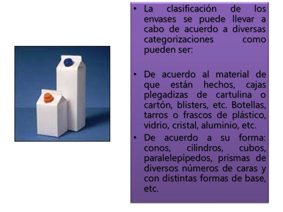 La clasificación de los envases se puede llevar a cabo de acuerdo a diversas categorizaciones como pueden ser: La clasificación de los envases se puede llevar a cabo de acuerdo a diversas categorizaciones como pueden ser: De acuerdo al material de que están hechos, cajas plegadizas de cartulina o cartón, blisters, etc.