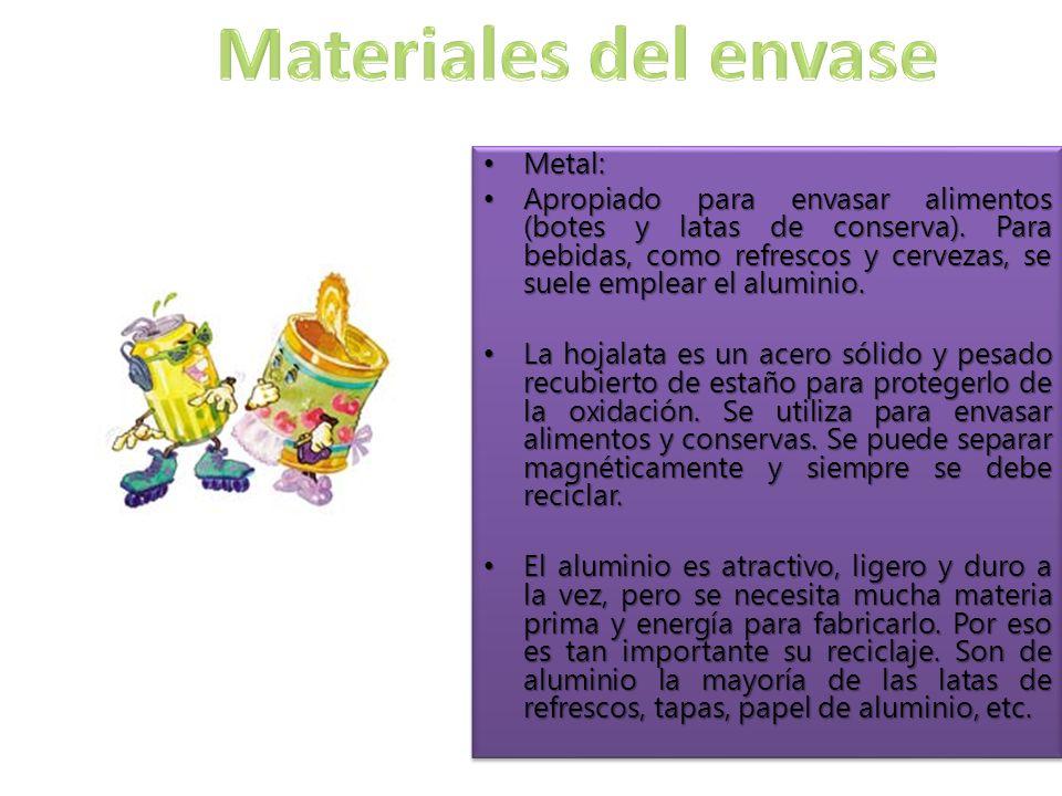 Metal: Metal: Apropiado para envasar alimentos (botes y latas de conserva).