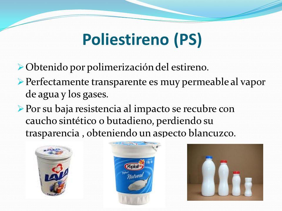Poliestireno (PS) Obtenido por polimerización del estireno. Perfectamente transparente es muy permeable al vapor de agua y los gases. Por su baja resi