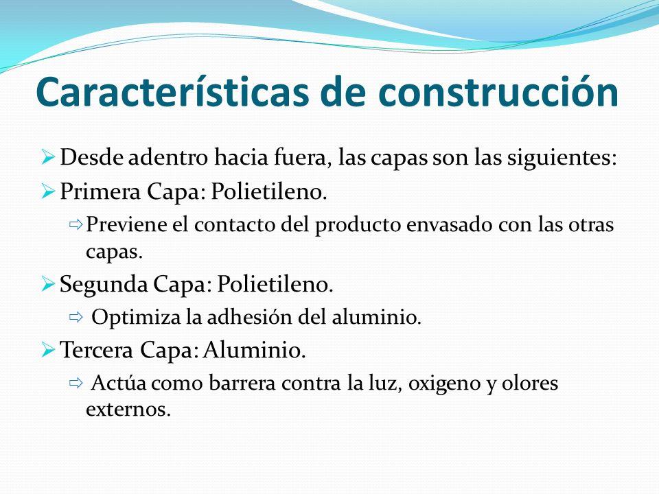 Características de construcción Desde adentro hacia fuera, las capas son las siguientes: Primera Capa: Polietileno. Previene el contacto del producto