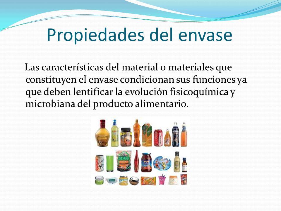 Propiedades del envase Las características del material o materiales que constituyen el envase condicionan sus funciones ya que deben lentificar la ev