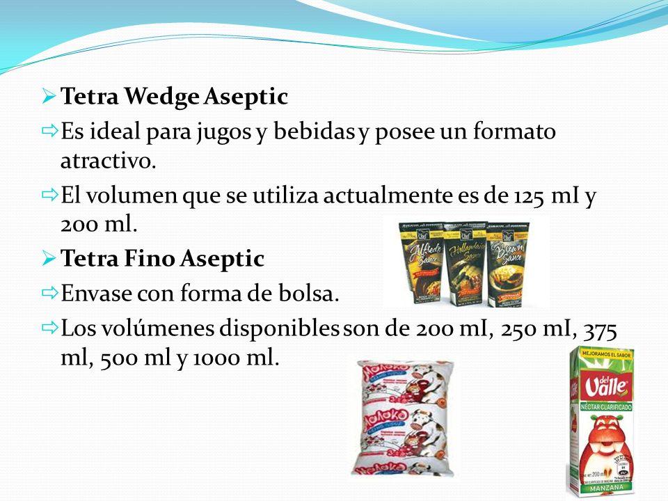 Tetra Wedge Aseptic Es ideal para jugos y bebidas y posee un formato atractivo. El volumen que se utiliza actualmente es de 125 mI y 200 ml. Tetra Fin