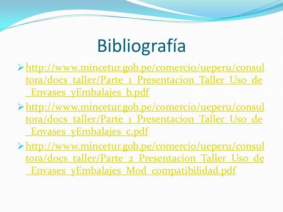 Bibliografía http://www.mincetur.gob.pe/comercio/ueperu/consul tora/docs_taller/Parte_1_Presentacion_Taller_Uso_de _Envases_yEmbalajes_b.pdf http://ww