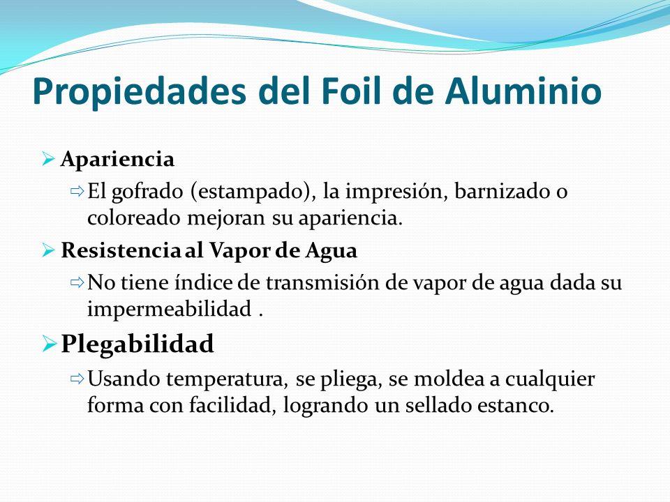 Propiedades del Foil de Aluminio Apariencia El gofrado (estampado), la impresión, barnizado o coloreado mejoran su apariencia. Resistencia al Vapor de