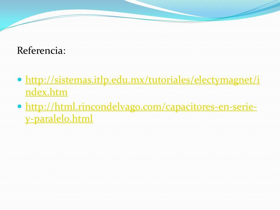 Referencia: http://sistemas.itlp.edu.mx/tutoriales/electymagnet/i ndex.htm http://sistemas.itlp.edu.mx/tutoriales/electymagnet/i ndex.htm http://html.