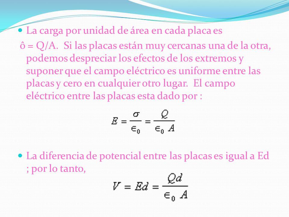 La carga por unidad de área en cada placa es ô = Q/A. Si las placas están muy cercanas una de la otra, podemos despreciar los efectos de los extremos