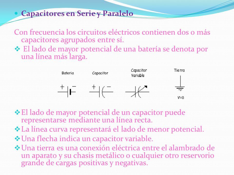 Capacitores en Serie y Paralelo Con frecuencia los circuitos eléctricos contienen dos o más capacitores agrupados entre sí. El lado de mayor potencial