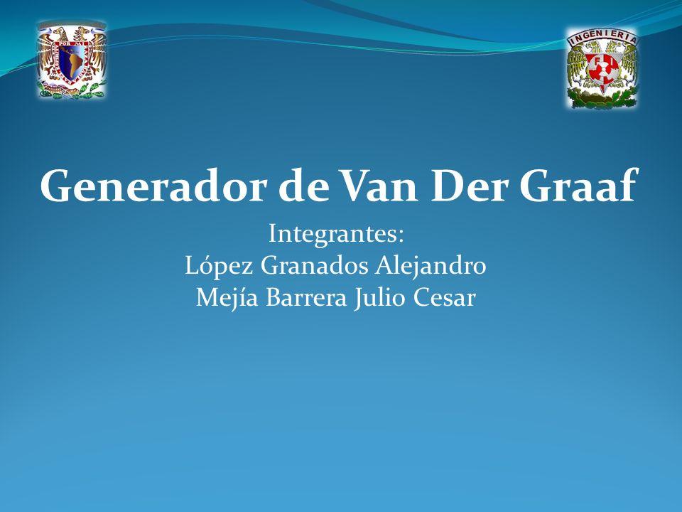 Generador de Van Der Graaf Integrantes: López Granados Alejandro Mejía Barrera Julio Cesar