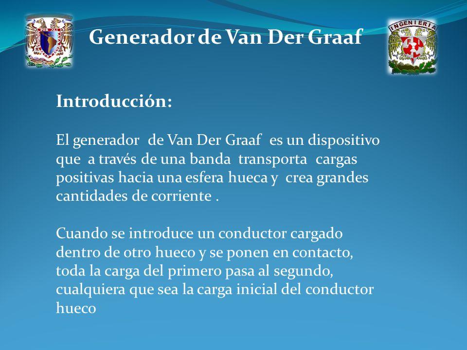 Generador de Van Der Graaf Introducción: El generador de Van Der Graaf es un dispositivo que a través de una banda transporta cargas positivas hacia u