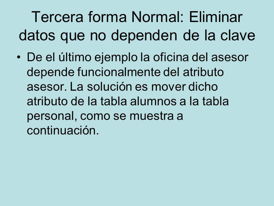 Tercera forma Normal: Eliminar datos que no dependen de la clave De el último ejemplo la oficina del asesor depende funcionalmente del atributo asesor