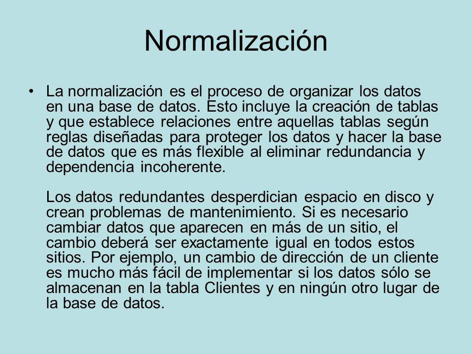 Normalización La normalización es el proceso de organizar los datos en una base de datos. Esto incluye la creación de tablas y que establece relacione