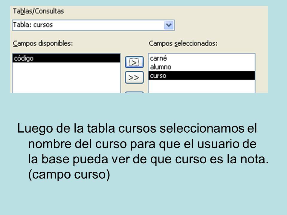 Luego de la tabla cursos seleccionamos el nombre del curso para que el usuario de la base pueda ver de que curso es la nota. (campo curso)