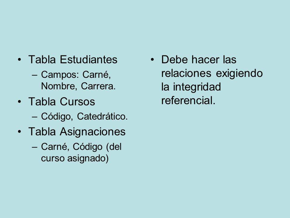 Tabla Estudiantes –Campos: Carné, Nombre, Carrera.