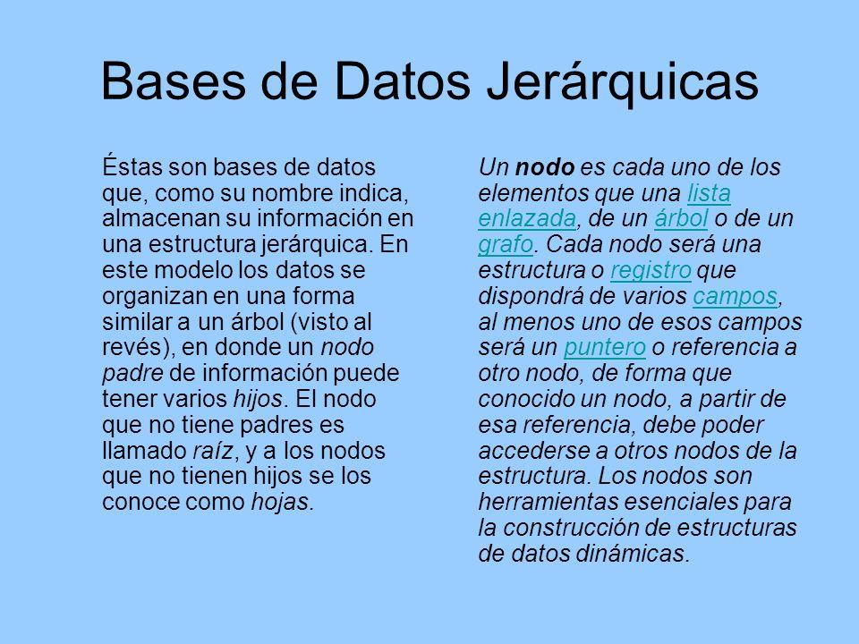Bases de Datos Jerárquicas Éstas son bases de datos que, como su nombre indica, almacenan su información en una estructura jerárquica.