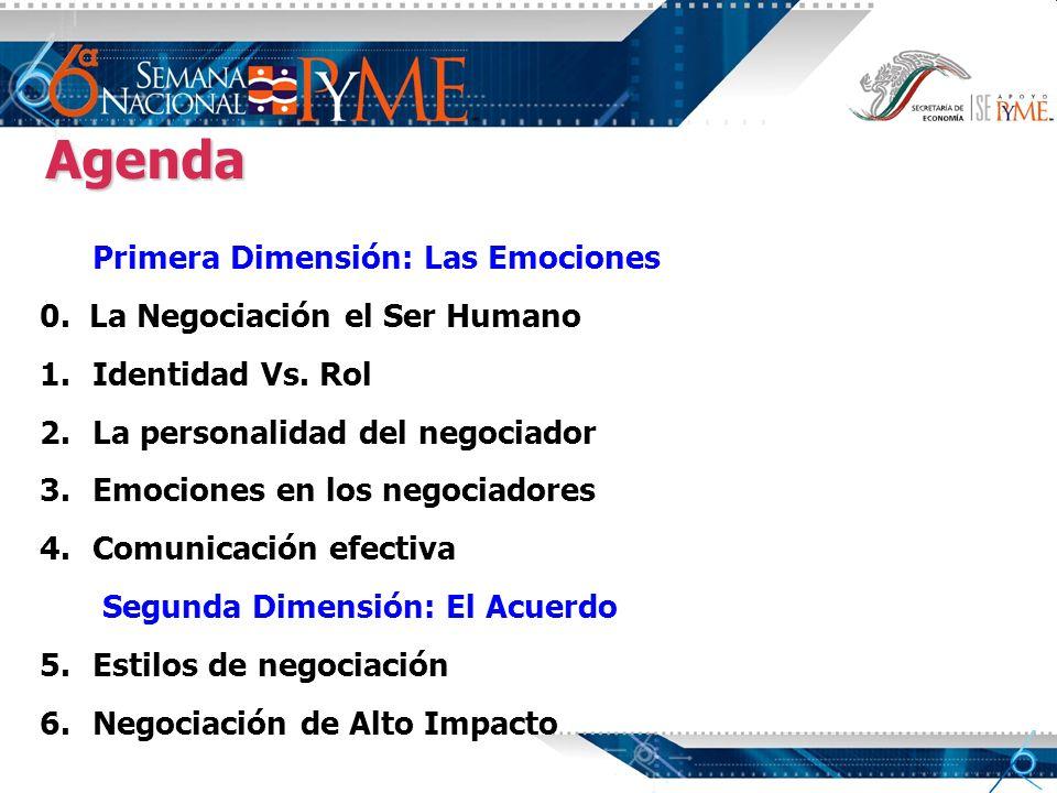 Agenda Primera Dimensión: Las Emociones 0. La Negociación el Ser Humano 1. 1.Identidad Vs. Rol 2. 2.La personalidad del negociador 3. 3.Emociones en l