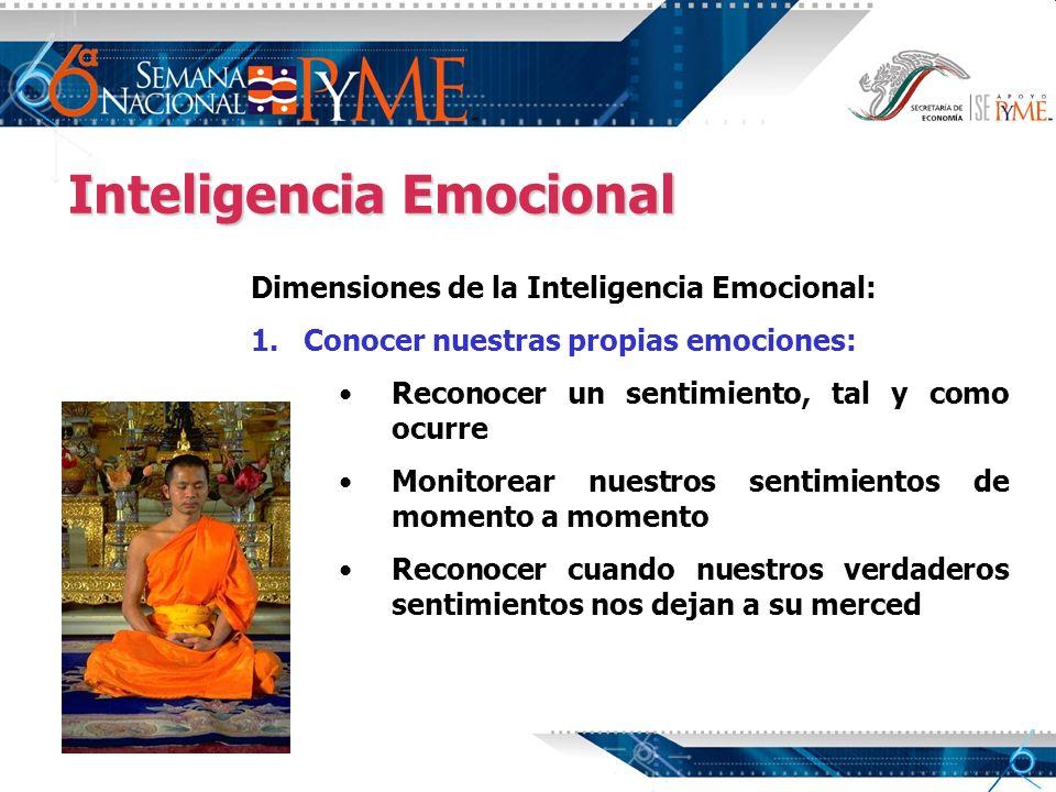 Inteligencia Emocional Dimensiones de la Inteligencia Emocional: 1. 1.Conocer nuestras propias emociones: Reconocer un sentimiento, tal y como ocurre