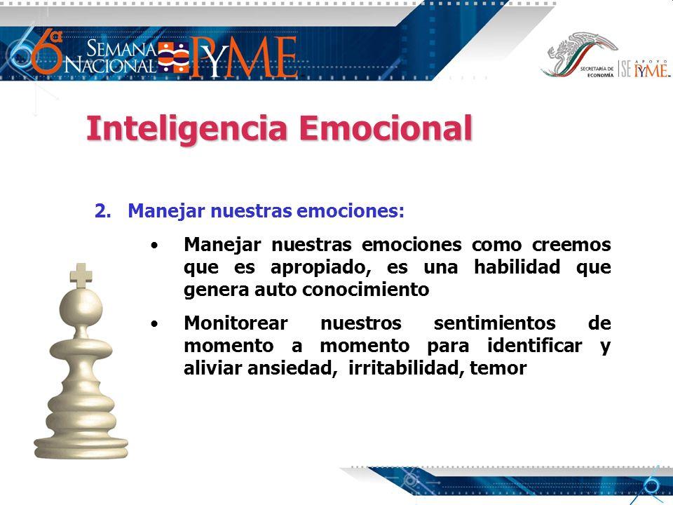 Inteligencia Emocional 2. 2.Manejar nuestras emociones: Manejar nuestras emociones como creemos que es apropiado, es una habilidad que genera auto con