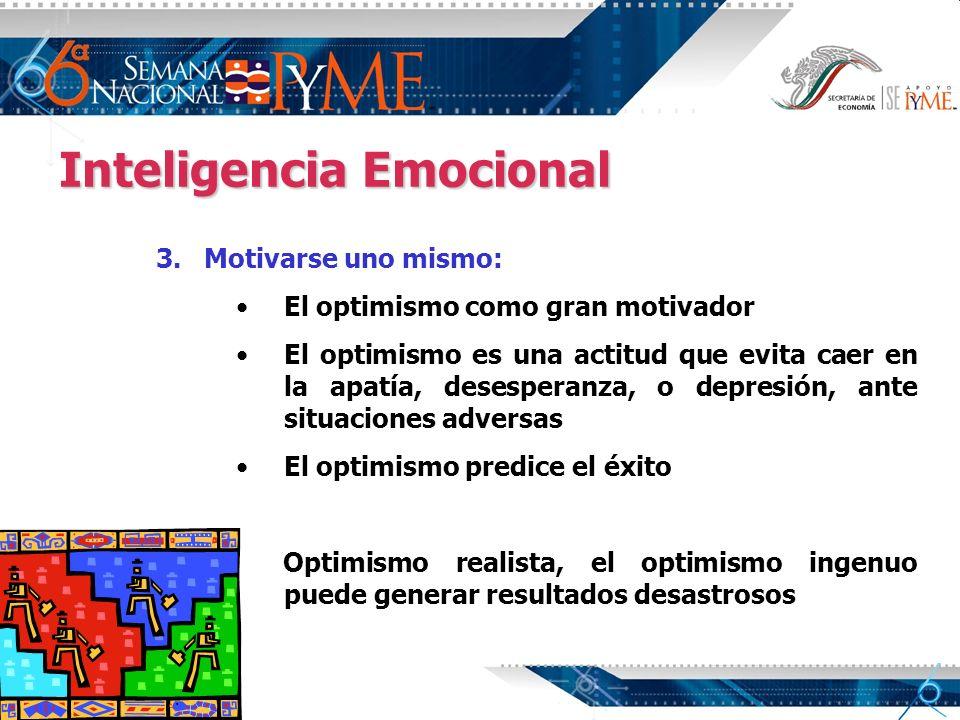 Inteligencia Emocional 3. 3.Motivarse uno mismo: El optimismo como gran motivador El optimismo es una actitud que evita caer en la apatía, desesperanz