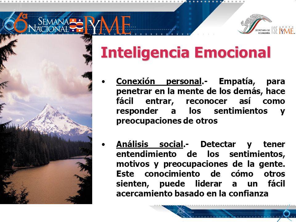 Inteligencia Emocional Conexión personal.- Empatía, para penetrar en la mente de los demás, hace fácil entrar, reconocer así como responder a los sent