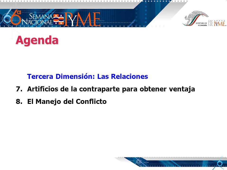 Agenda Tercera Dimensión: Las Relaciones 7. 7.Artificios de la contraparte para obtener ventaja 8. 8.El Manejo del Conflicto