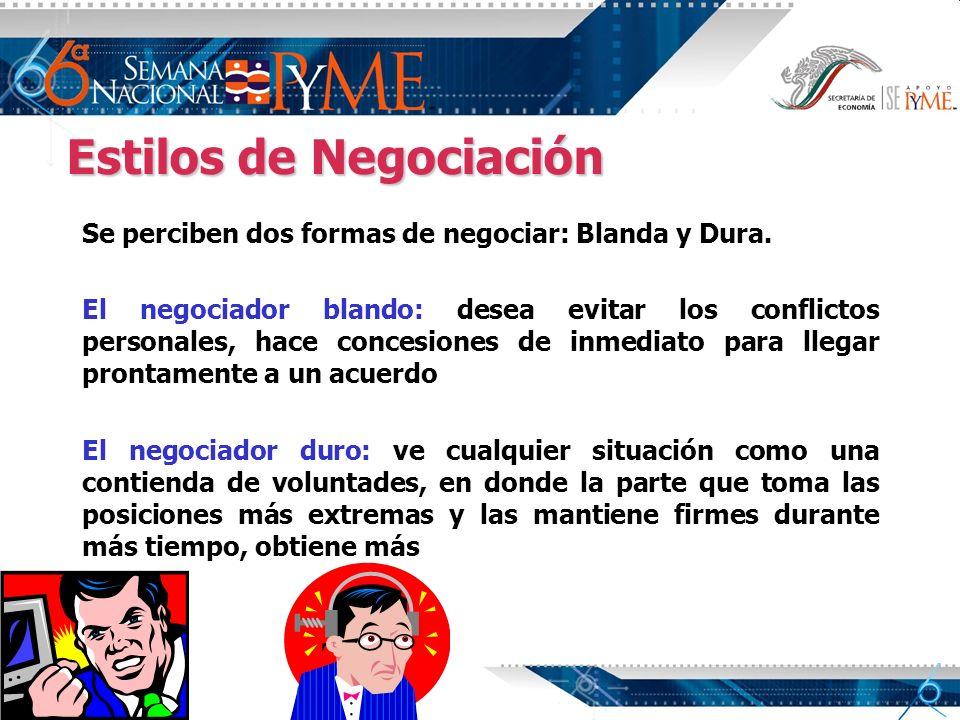 Estilos de Negociación Se perciben dos formas de negociar: Blanda y Dura. El negociador blando: desea evitar los conflictos personales, hace concesion