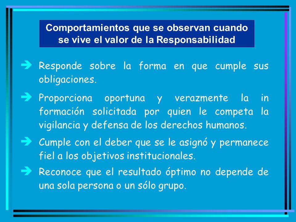 Comportamientos que se observan cuando se vive el valor de la Responsabilidad è Responde sobre la forma en que cumple sus obligaciones. è Proporciona