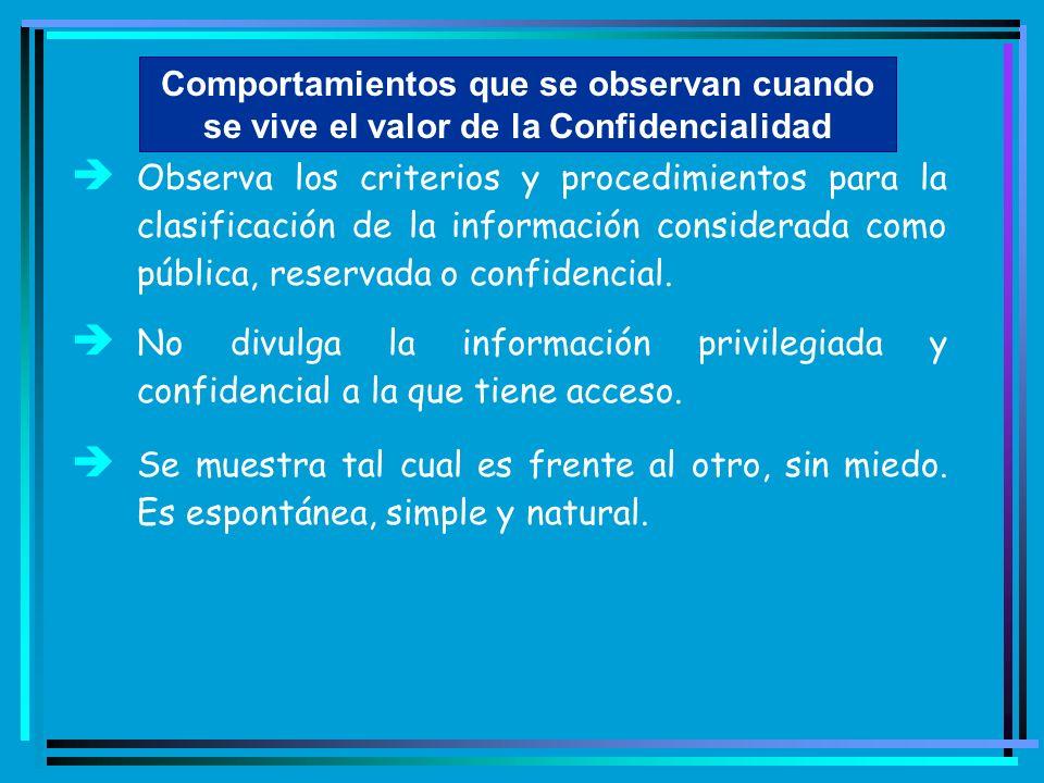 Comportamientos que se observan cuando se vive el valor de la Confidencialidad è Observa los criterios y procedimientos para la clasificación de la in