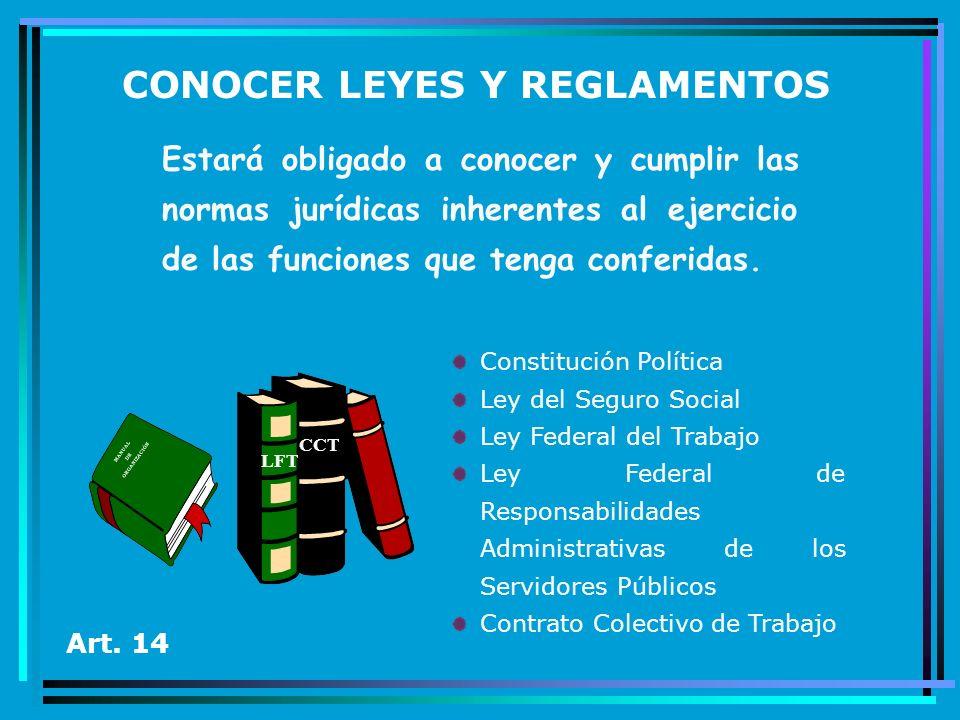 CONOCER LEYES Y REGLAMENTOS Estará obligado a conocer y cumplir las normas jurídicas inherentes al ejercicio de las funciones que tenga conferidas. Ar