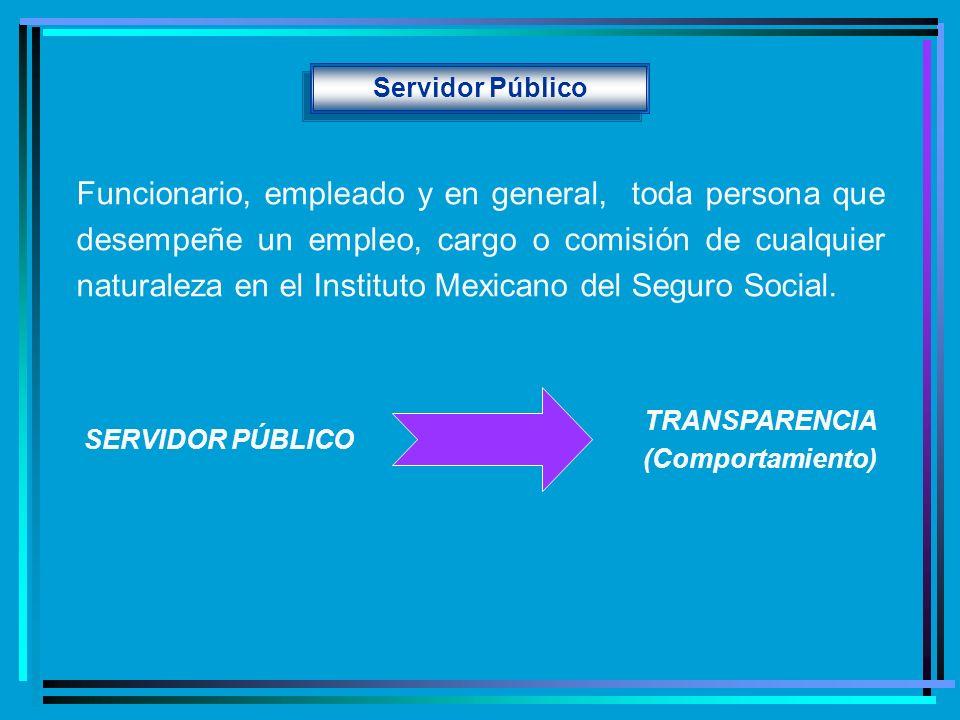 Servidor Público Funcionario, empleado y en general, toda persona que desempeñe un empleo, cargo o comisión de cualquier naturaleza en el Instituto Me